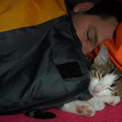 Daniel with Kedi [Turkish for 'cat'], camping