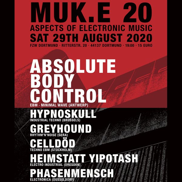 VOLT supports: MUK.E 2020 mit Absolute Body Control, Hypnoskull, Greyhound u. a. in Dortmund