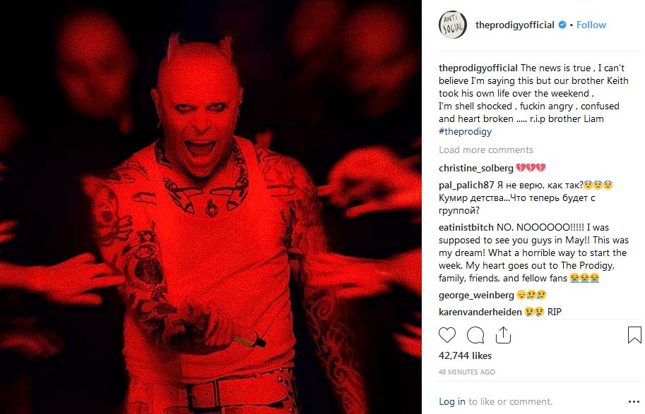 keith flint the prodigy suicide instagram shot