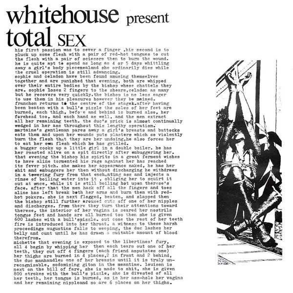 "Whitehouse ""Total Sex"" album cover artwork"